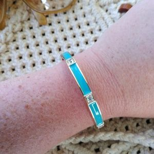 Turquoise rhinestone bangle, gold, enamel, hinged